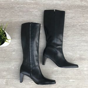 Etienne Aigner Leather Tall Boots Black Heels